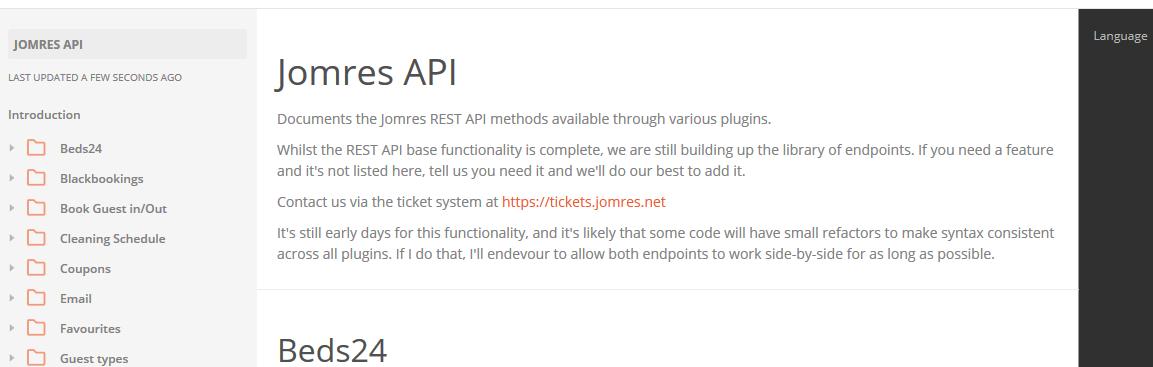 Jomres API doc snippet
