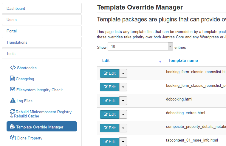 Override manager view