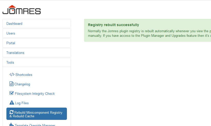 rebuild registry page