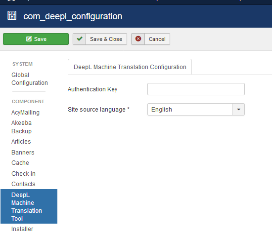 global configuration api key and language selection