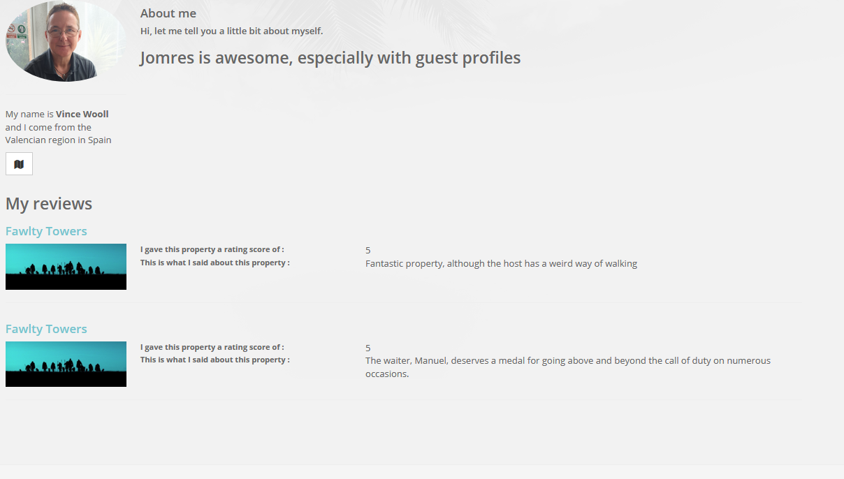 guest profile page